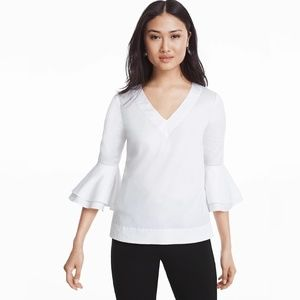 WHBM The Carman White Bell Sleeve Poplin Top